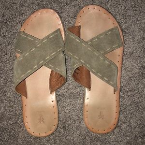 Frye Ally Criss Cross Authentic Leather Sandals